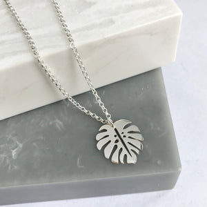 Sterling Silver Monstera Leaf Necklace