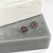 Sterling Silver Multi Coloured Crystal Studs