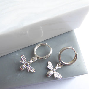 Sterling Silver Bee Hoop Earrings
