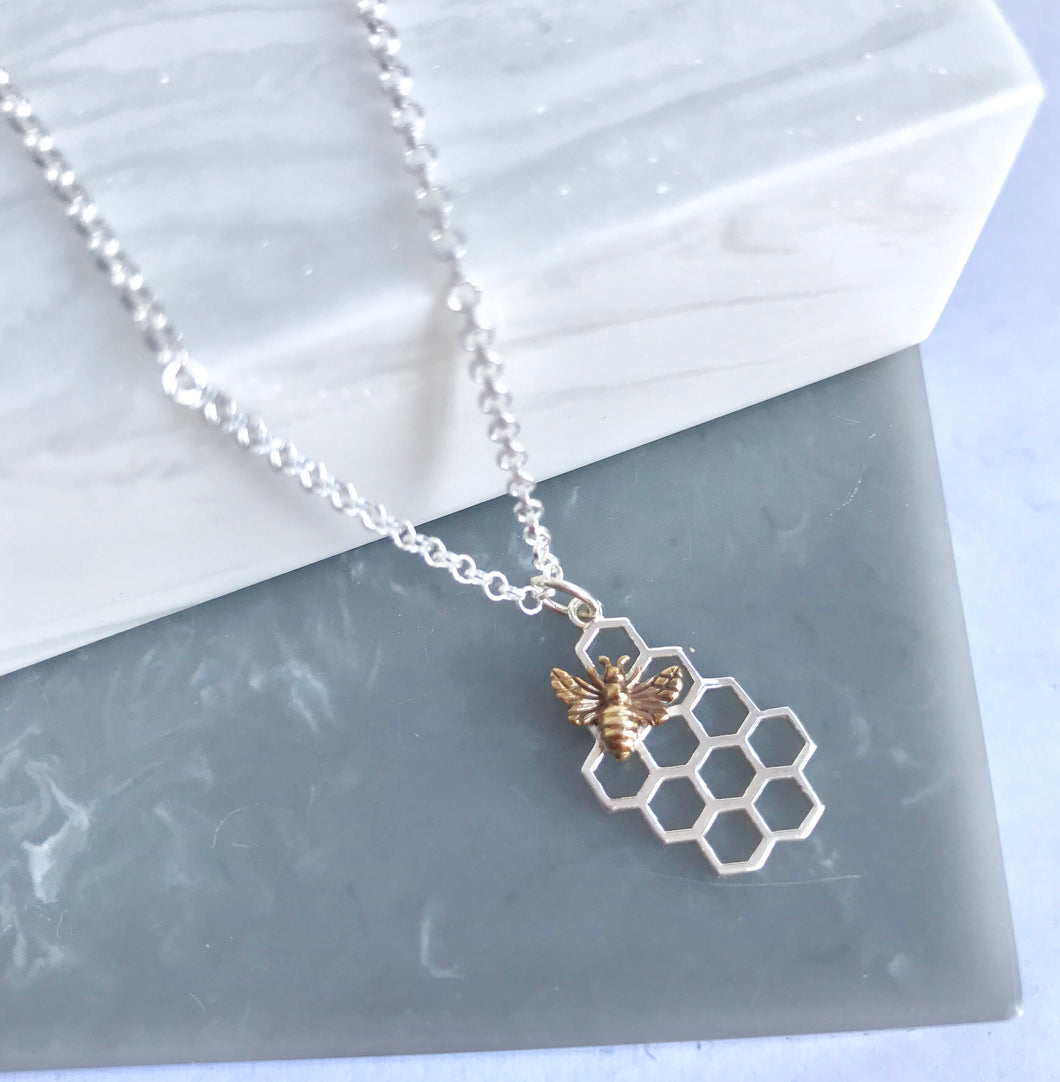 Sterling Silver Honeycomb & Bronze Bee Necklace