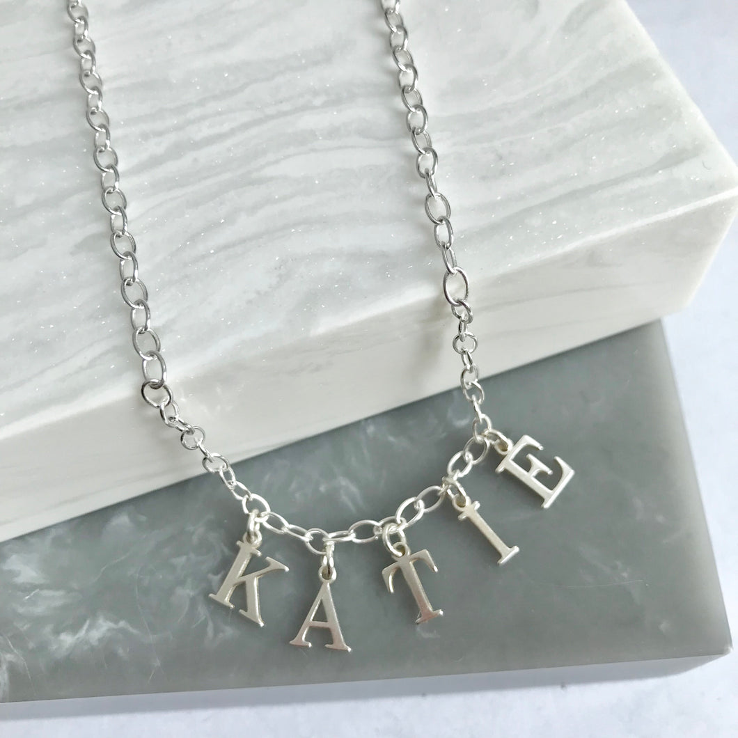 Sterling Silver Letter Charm Name Necklace