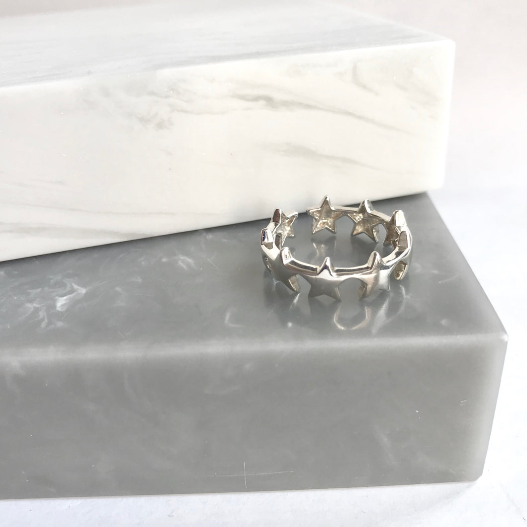 Sterling Silver Band Of Stars Ring