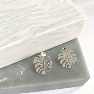 Sterling Silver Monstera Leaf Stud Earrings