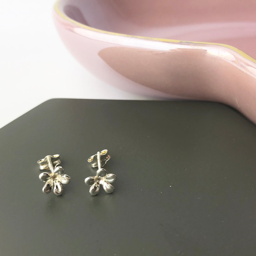 Sterling Silver Small Cherry Blossom Studs