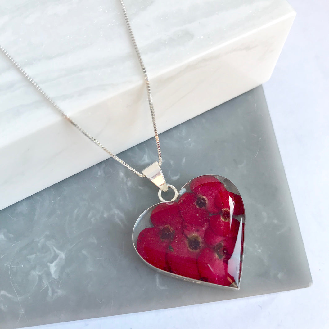 Sterling Silver Poppy Heart Necklace