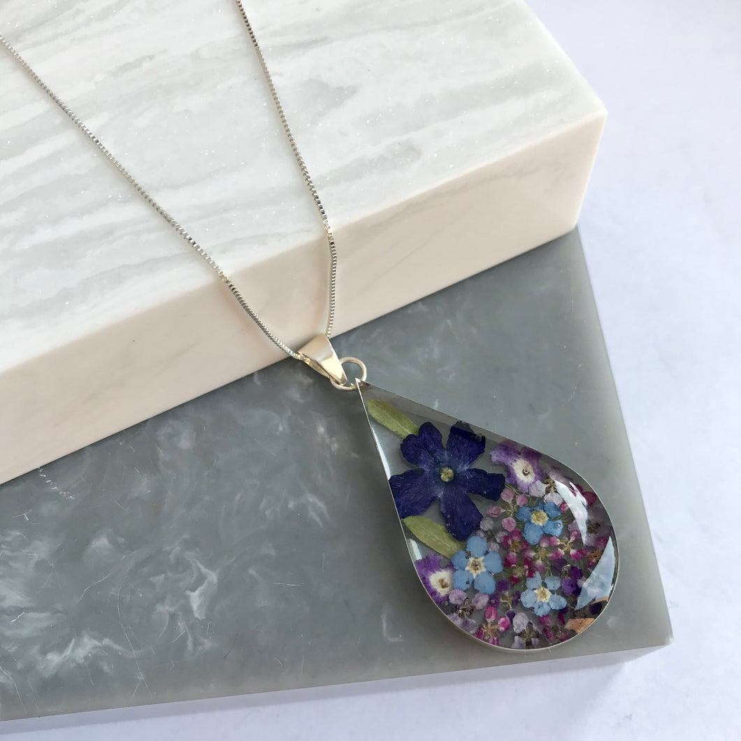 SALE!! Sterling Silver & Purple Flower Teardrop Necklace