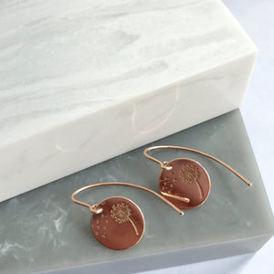 Rose Gold Plated Dandelion Stamp Earrings