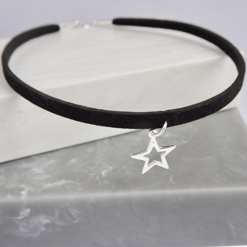 Black Faux Suede & Sterling Silver Star Choker