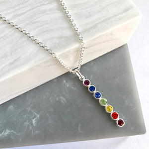 Sterling Silver Crystal Chakra Necklace