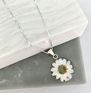 Sterling Silver Large White Daisy Necklace