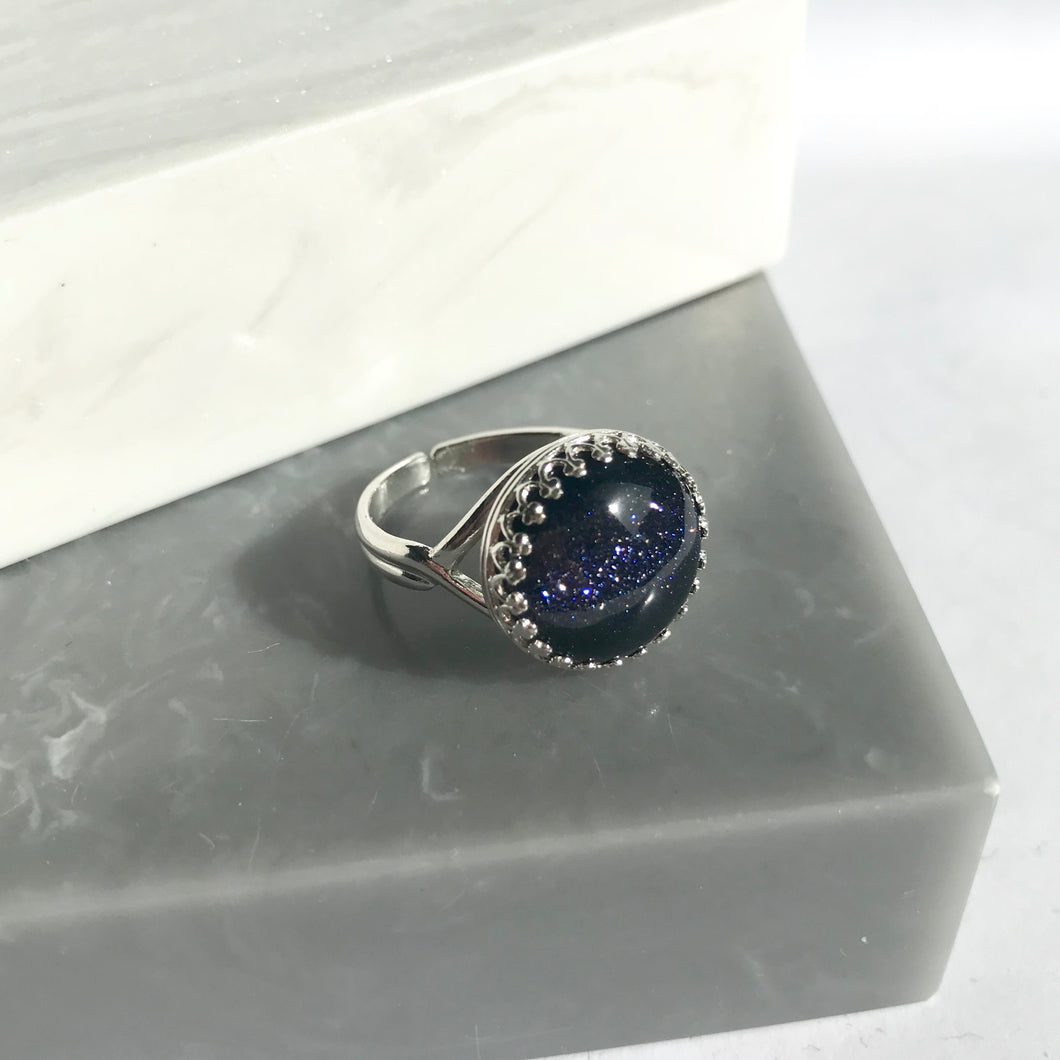 Sterling Silver Starry Night Adjustable Ring
