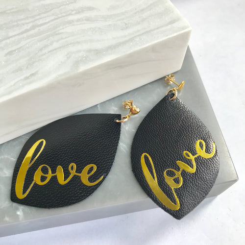 Gold Filled & Leather Love Earrings