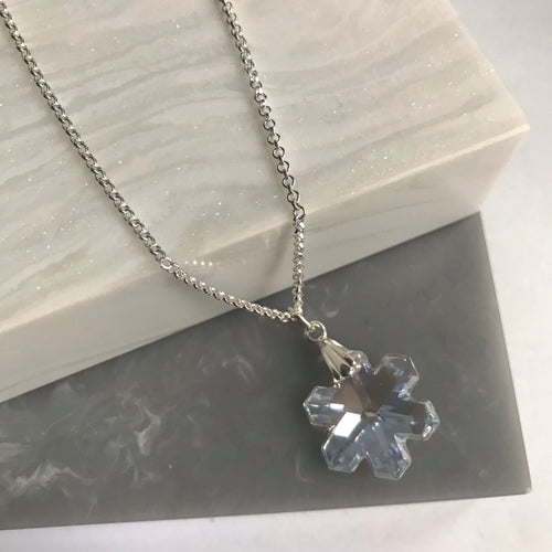 SALE!! Sterling Silver Swarovski Crystal Snowflake Necklace