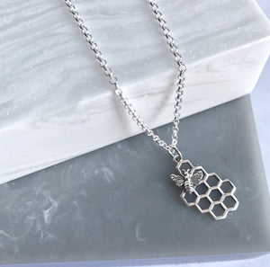 Sterling Silver Honeycomb & Silver Bee Necklace