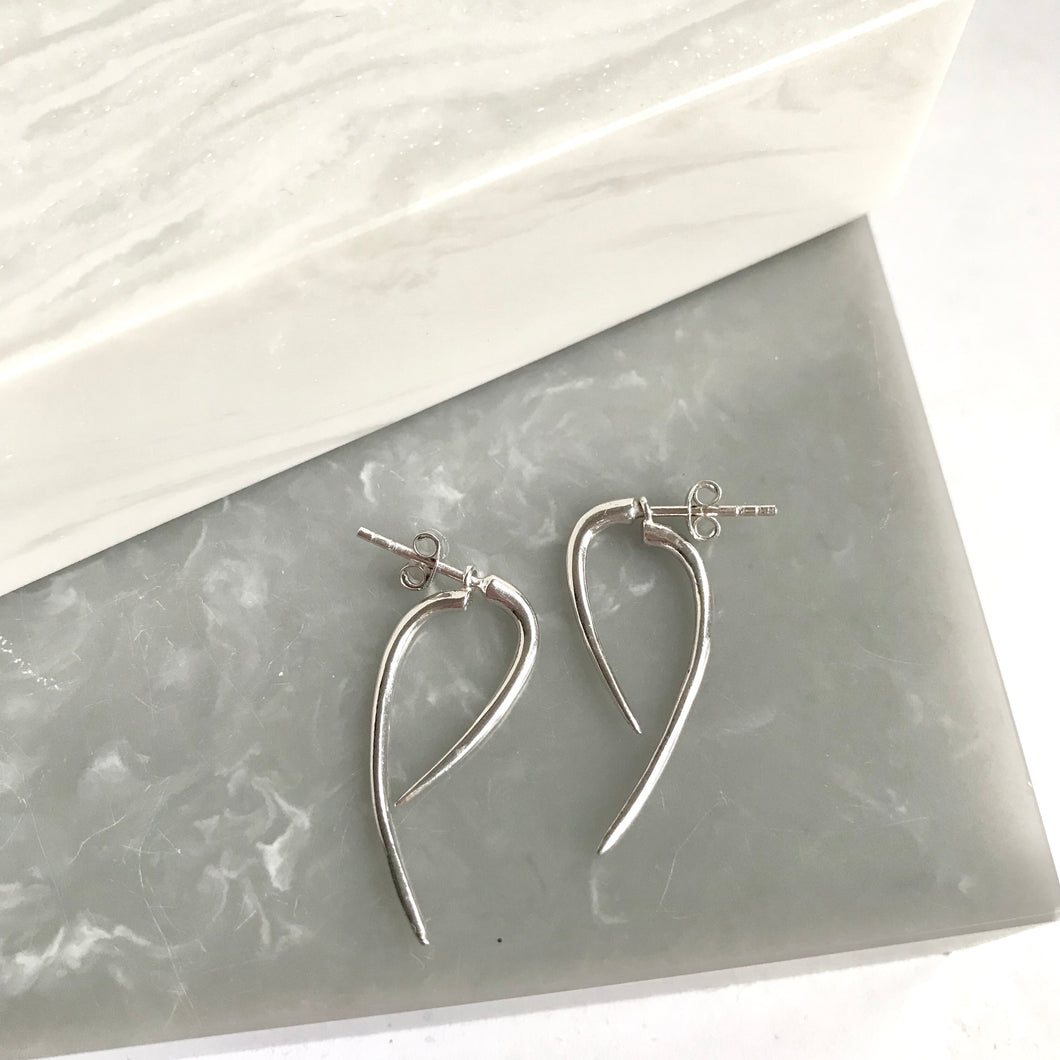 Sterling Silver Front Back Spike Earring