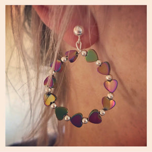SALE!! Sterling Silver And Rainbow Hematite Heart Bead Earrings