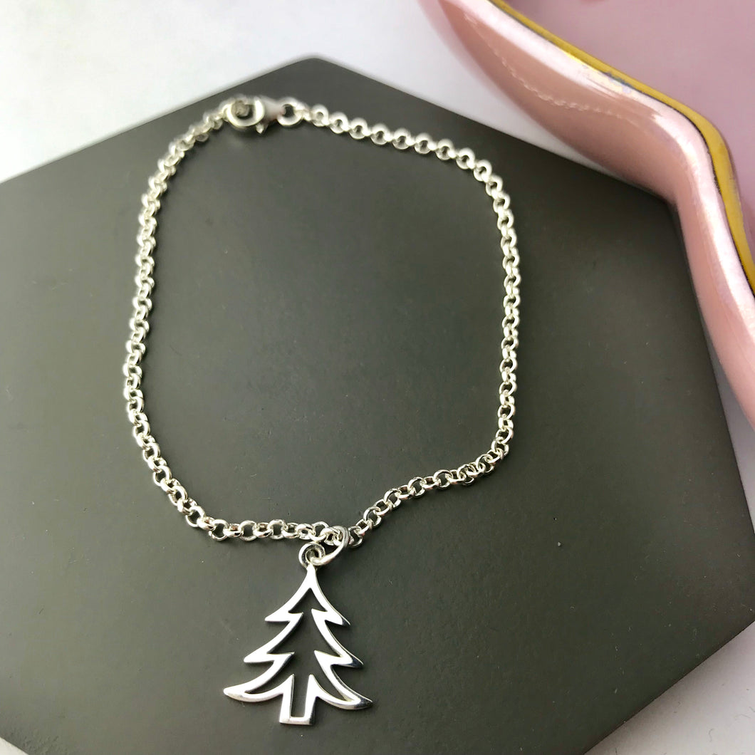 SALE!! Sterling Silver Christmas Tree Bracelet