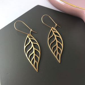 Bronze leaf charm earrings with gold filled ear wires