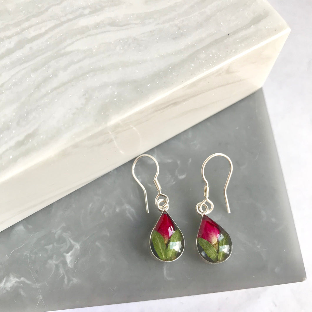 Sterling Silver Real Mini Rosebud Earrings