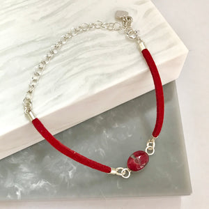 Sterling Silver & Leather Look Poppy Bracelet