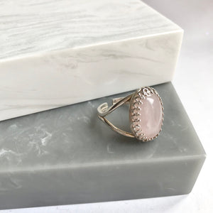 Sterling Silver Adjustable Rose Quartz Ring