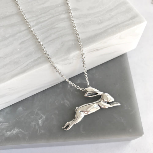 Sterling Silver Leaping Hare Necklace