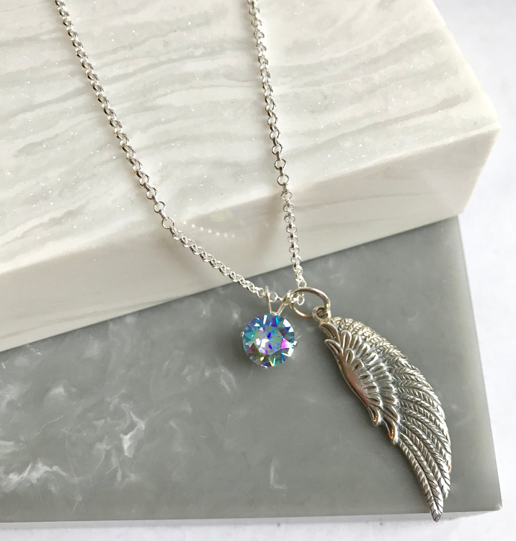 Sterling Silver Angel Wing With Crystal