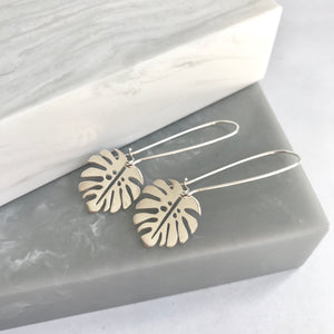 Sterling Silver Monstera Leaf Earrings