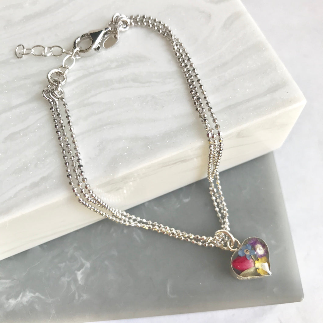 Sterling Silver Mixed Flower Heart Charm Bracelet