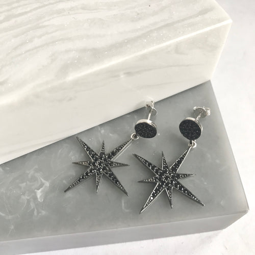 Sterling Silver Black Sparkly Star Earrings