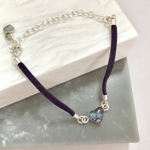Sterling Silver & Leather Look Purple Flower Bracelet