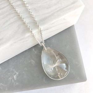 Sterling Silver Necklace With Real Dandelion