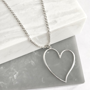 Sterling Silver Open Heart Necklace