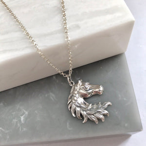 SALE!! Sterling Silver Horse Head Necklace