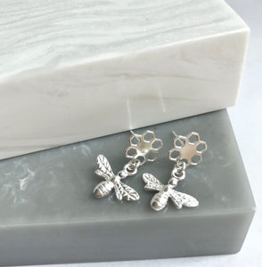 Sterling Silver Honeycomb Bee Studs