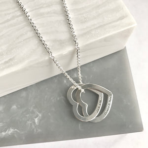 Sterling Silver Personalised Interlocking Hearts