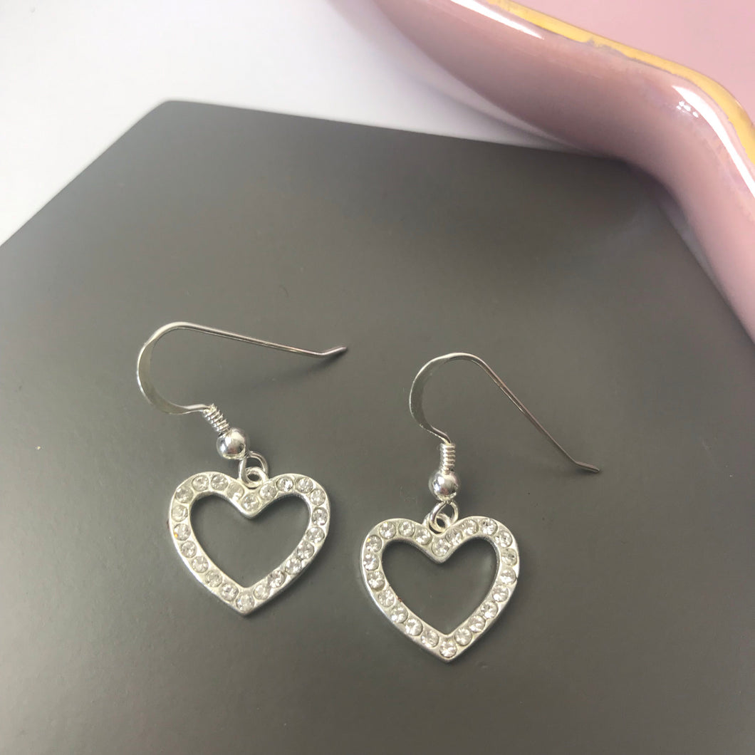 Sterling Silver Sparkly Heart Earrings