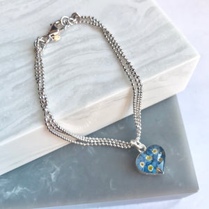 Sterling Silver Forget Me Not Heart Bracelet