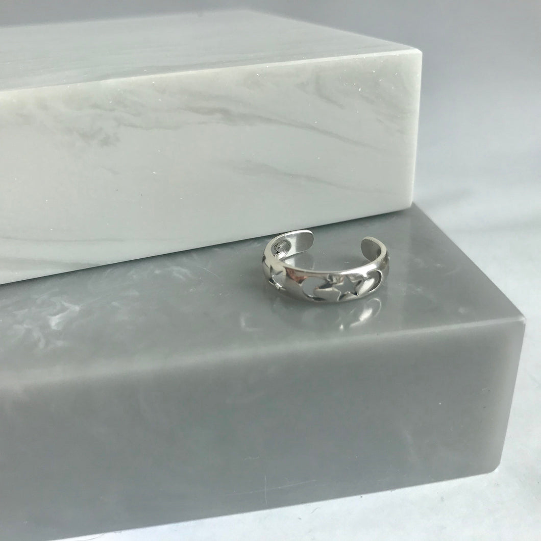 Sterling Silver Star & Moon Toe Ring / Pinky Ring