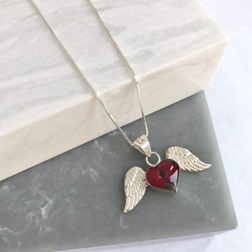 SALE!! Sterling Silver & Poppy Angel Wing Necklace
