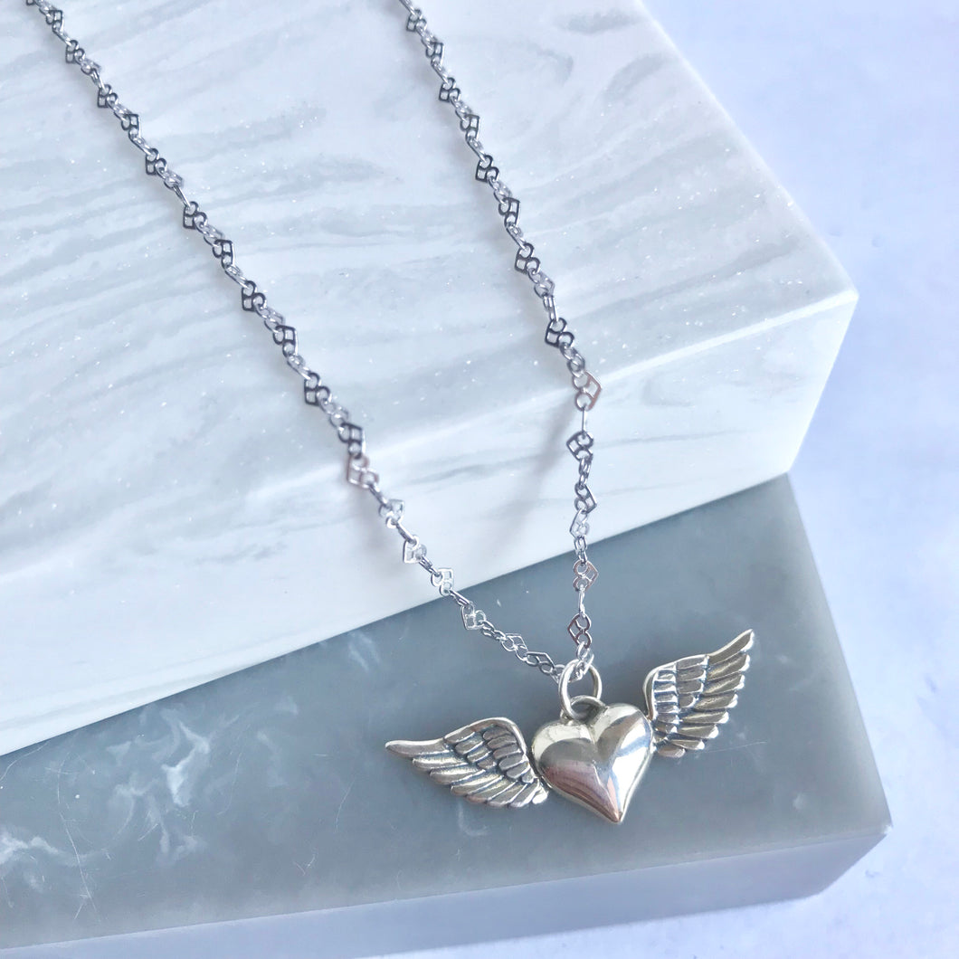 Sterling Silver Winged Heart Necklace