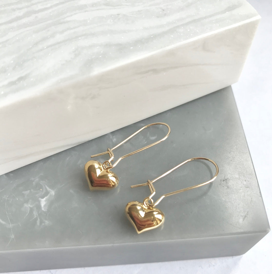 Gold Plated Heart Charm Earrings