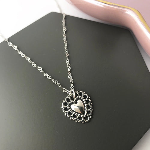 Sterling Silver Doily Heart Necklace