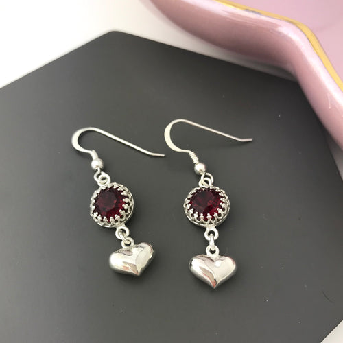 Sterling Silver Scarlet Crystal Heart Earrings