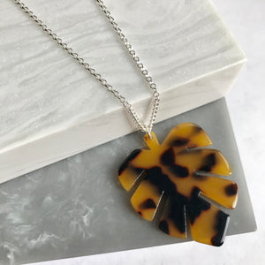 Sterling Silver & Resin Large Monstera Leaf Necklace