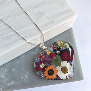 Sterling Silver Mixed Flower Giant Heart Necklace