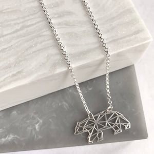 Sterling Silver Geometric Bear Necklace