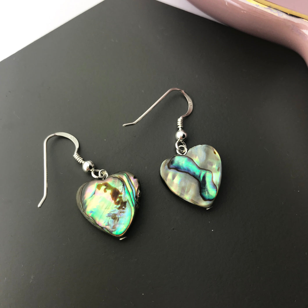 Sterling Silver Abalone Shell Heart Earrings
