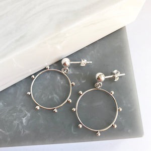 SALE!! Sterling Silver Granulated Circle Earrings