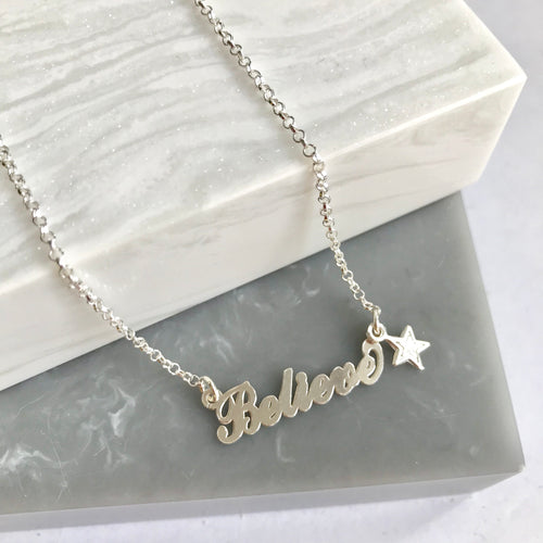 Sterling Silver Believe Star Necklace